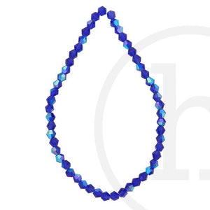 Glass Beads Faceted Bicone Dark Sapphire Ab Finish