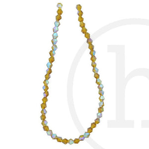 Glass Beads Faceted Bicone Light Amber Ab Finish