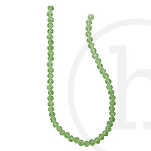 Glass Beads Faceted Round Light Green