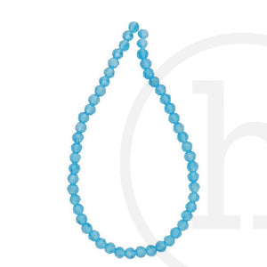 Glass Beads Faceted Round Aqua Luster