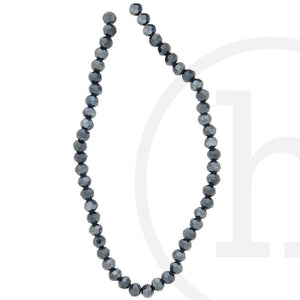 Glass Beads Faceted Round Black Luster