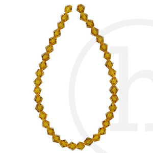 Glass Beads Faceted Bicone Light Amber