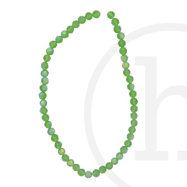 Glass Beads, Glass, Beads, Glass, Grass Green, Green, AB, Faceted, Round, 4mm