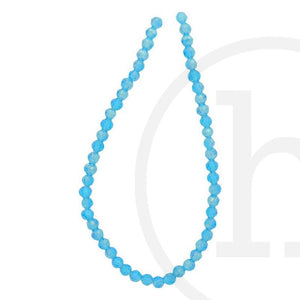 Glass Beads Faceted Round Aqua Ab Finish