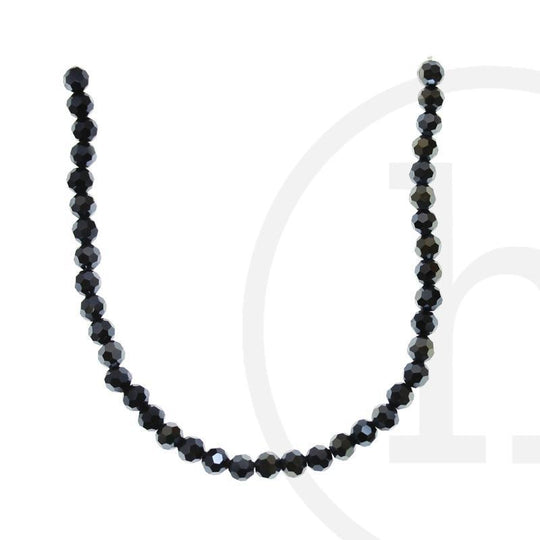 Glass Beads Faceted Round Gunmetal