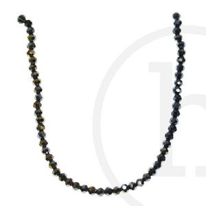 Glass Beads Faceted Round Black Ab Finish