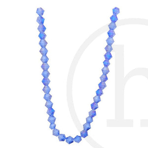 Glass Beads Faceted Bicone Sapphire Ab Finish