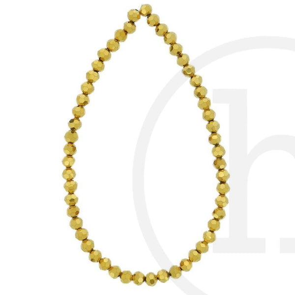 Glass Beads, Glass, Beads, Glass, Gold, Faceted, Round, 4mm, 6mm