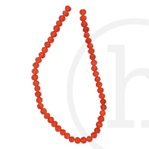 Glass Beads Faceted Round Red