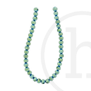 Glass Beads Faceted Round Green Iris