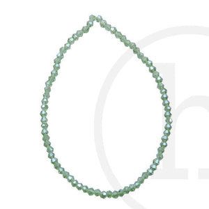 Glass Beads Faceted Bicone Light Green Luster