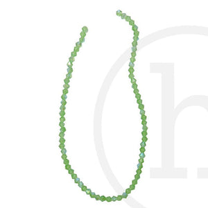Glass Beads Faceted Bicone Grass Green Ab Finish