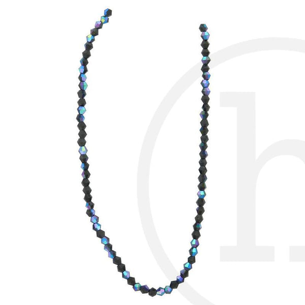 Glass Beads, Glass, Beads, Glass, Black, AB, Faceted, Bicone, 3mm, 4mm, 6mm