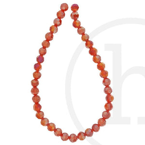 Glass Beads Faceted Round  Red  Ab Finish