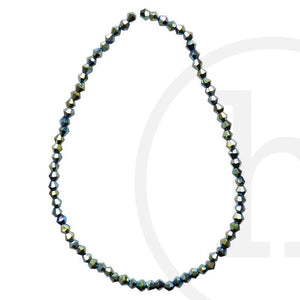 Glass Beads Faceted Bicone Green Iris