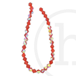 Glass Beads Faceted Bicone Red Ab Finish