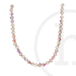 Glass Beads Faceted Bicone Pink Ab Finish