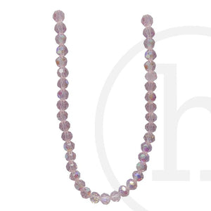 Glass Beads Faceted Round Pink  Ab Finish
