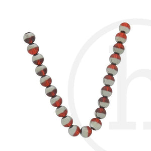 Red Glass With Half Silver Round 10mm