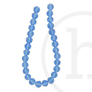 Glass Beads Faceted Round Light Sapphire