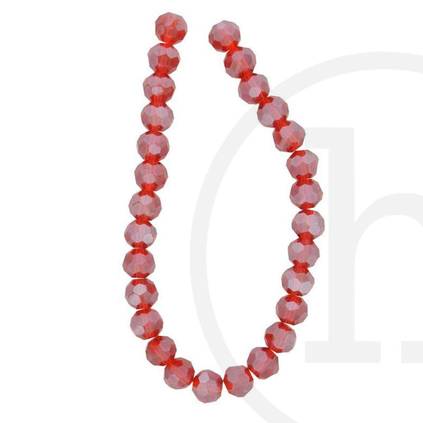 Glass Beads, Glass, Beads, Glass, Red, Ruby, Luster, Faceted, Round, 8mm