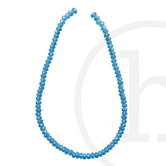 Glass Beads Faceted Rondell Aqua Luster