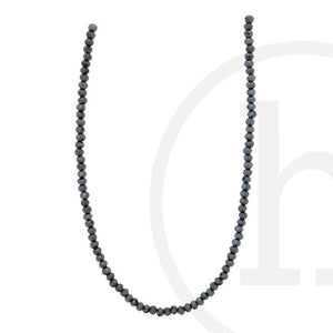 Glass Beads Faceted Rondell Black Luster