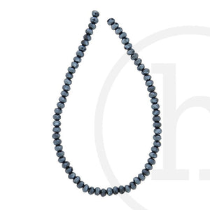 Glass Beads Faceted Rondell GunmetalBeads by Halcraft Collection