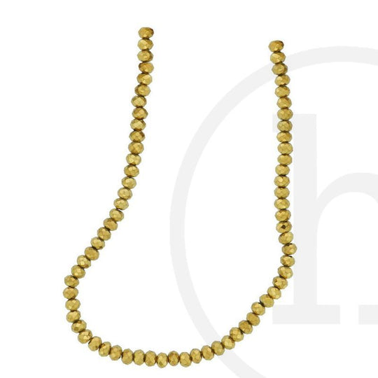 Glass Beads Faceted Rondell Gold Iris