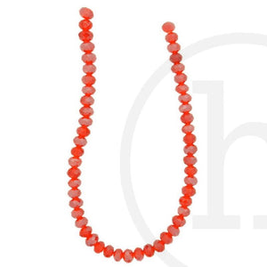 Glass Beads Faceted Rondell Red Luster