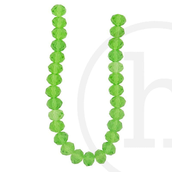 Glass Beads, Glass, Beads, Glass, Grass Green, Green, Faceted, Rondell, 8x10mm, 8mm, 10mm
