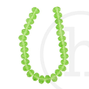Glass Beads Faceted Rondell Light Green
