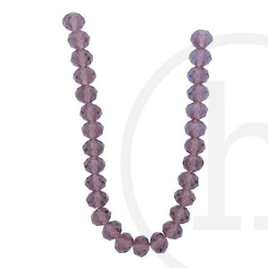Glass Beads Faceted Rondell Light Amethyst