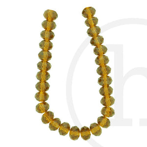 Glass Beads Faceted Rondell Amber