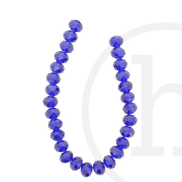 Glass Beads, Glass, Beads, Glass, Dark Sapphire, Blue, Royal Blue, Faceted, Rondell, 8x10mm, 8mm, 10mm