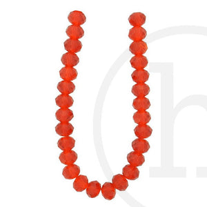Glass Beads Faceted Rondell Light RedBeads by Halcraft Collection