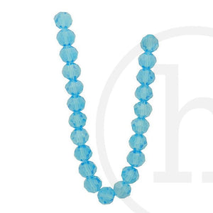Glass Beads, Glass, Beads, Glass, Aqua, Luster, Faceted, Round, 10mm