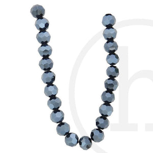 Glass Beads, Glass, Beads, Glass, Black, Luster, Faceted, Round, 10mm