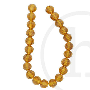 Glass Beads Faceted Round(32 Facets) Light Amber Luster