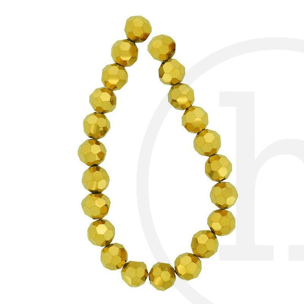 Glass Beads, Glass, Beads, Glass, Gold, Faceted, Round, 10mm