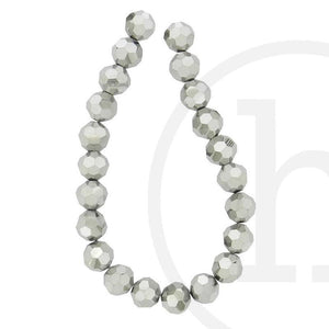 Glass Beads Faceted Round(32 Facets) Silver 10mm Beads by Halcraft Collection