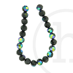 Glass Beads, Glass, Beads, Glass, Black, Black, AB, Faceted, Round, 10mm