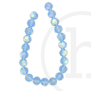 Glass Beads, Glass, Beads, Glass, Light Sapphire, Blue, AB, Faceted, Round, 10mm
