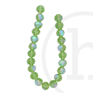 Glass Beads Faceted Round(32 Facets) Light Green Ab Finish
