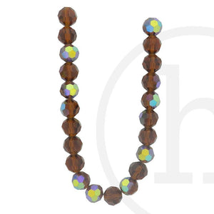 Glass Beads, Glass, Beads, Glass, Amber, Tan, Taupe, Brown, AB, Faceted, Round, 10mm