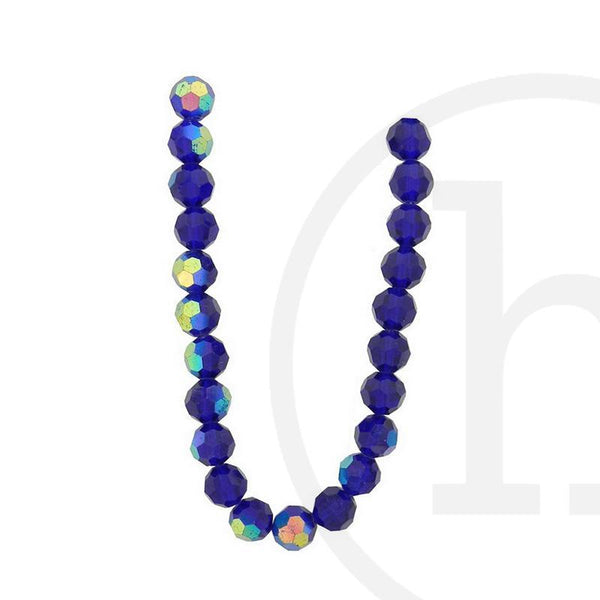 Glass Beads, Glass, Beads, Glass, Dark Sapphire, Blue, Royal Blue, AB, Faceted, Round, 10mm