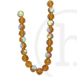 Glass Beads Faceted Round(32 Facets) Light Amber Ab Finish