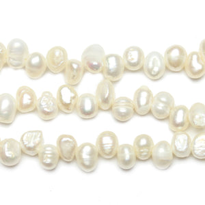 Fresh Water Pearl Oval Top Drilled Pearl White Sizes Vary