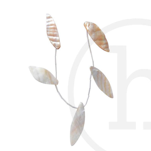 Pearl Beads, Pearl, Pearls, Beads, Shell, Natural, River Shell, Leaf, 20x43mm, 20mm, 43mm