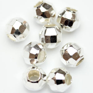 Silver Plated Faceted Round Beads 8mm
